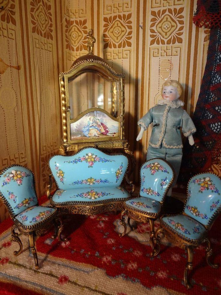Austrian Enamel Parlor Suite Dollhouse FurnitureDoll