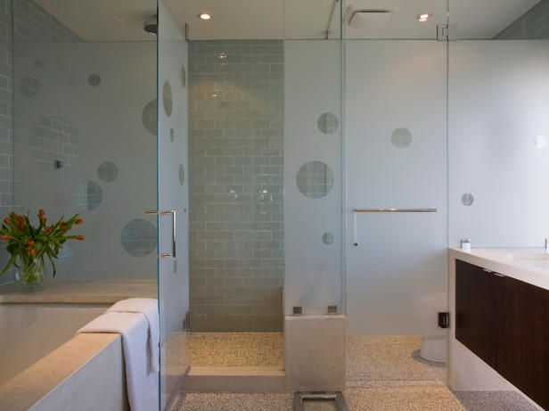Play peekaboo behind a translucent glass shower with flirty polka-dot cutouts.: Bathroom Design, Shower Doors, Subway Tile, Bathroom Remodel, Bathroom Ideas, Glasses Doors, Frostings Glasses, Contemporary Bathroom, Master Bathroom