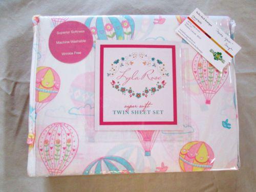 NEW Lyla Rose Twin Sheet Set Hot Air Balloons Flowers Pink