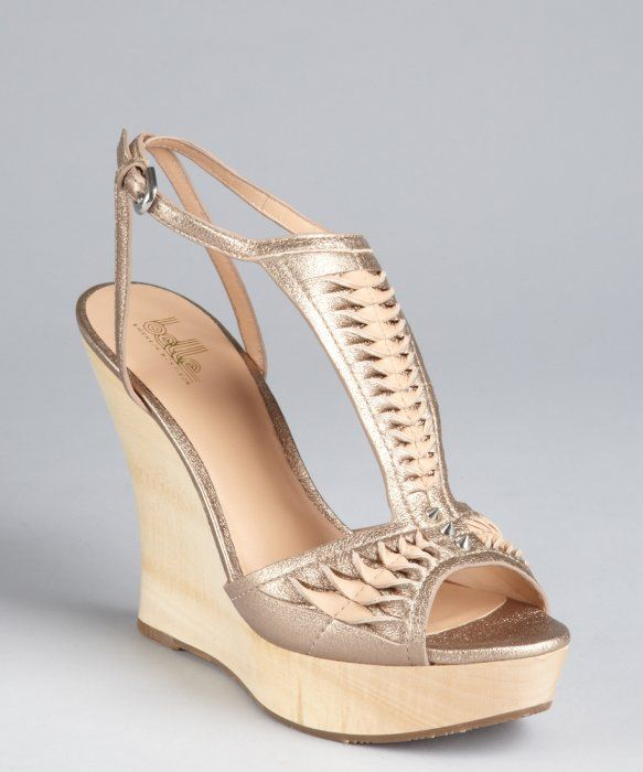 BELLE by Sigerson Morrison warm gold braided and studded leather 'Berry'  wedge sandals
