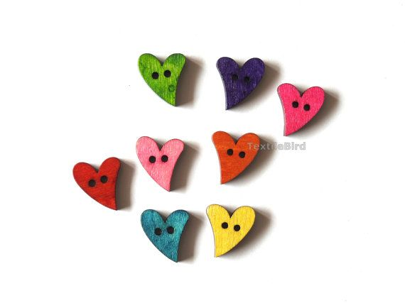 Wooden Buttons Funky Heart - 8 pcs