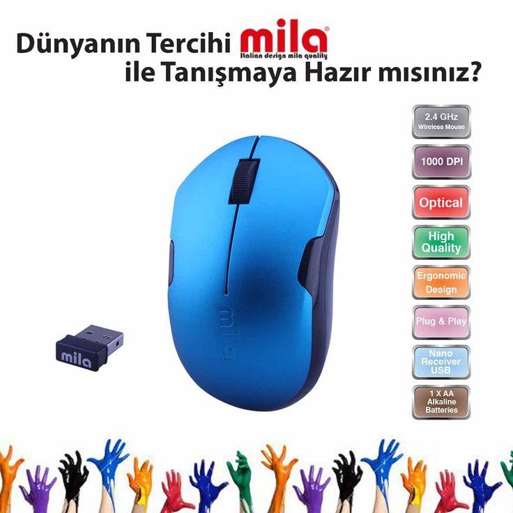Mila Kablosuz USB Nano Alıcılı Optik Mouse Mavi / Siyah şerit.
