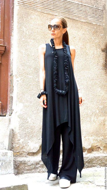 топ черный длинная туника свободный стиль свободная одежда длинный топ