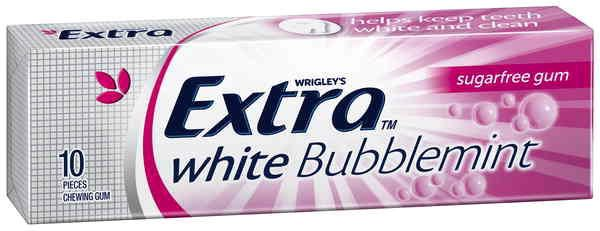 A bulk box of 24 packs of Wrigleys Extra Bubblemint White.