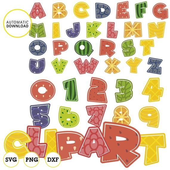 Fruit Alphabet Letters And Numbers Clipart Svg Dxf Vector Png