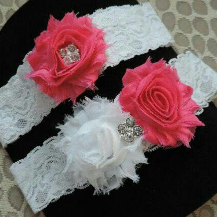Beautiful pink bridal garter set!!