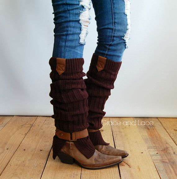 The Britain Buckle Leg warmer -Brown Ribbed legwarmer with tan tabs and buckle - boot socks (item no. 4-3) on Etsy, £15.02