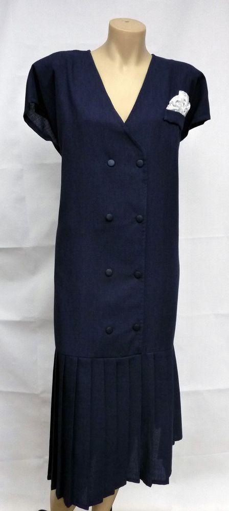 Vintage Retro Smartline Australia Nautical 80 s Midi Dress Size 14 Navy Costume