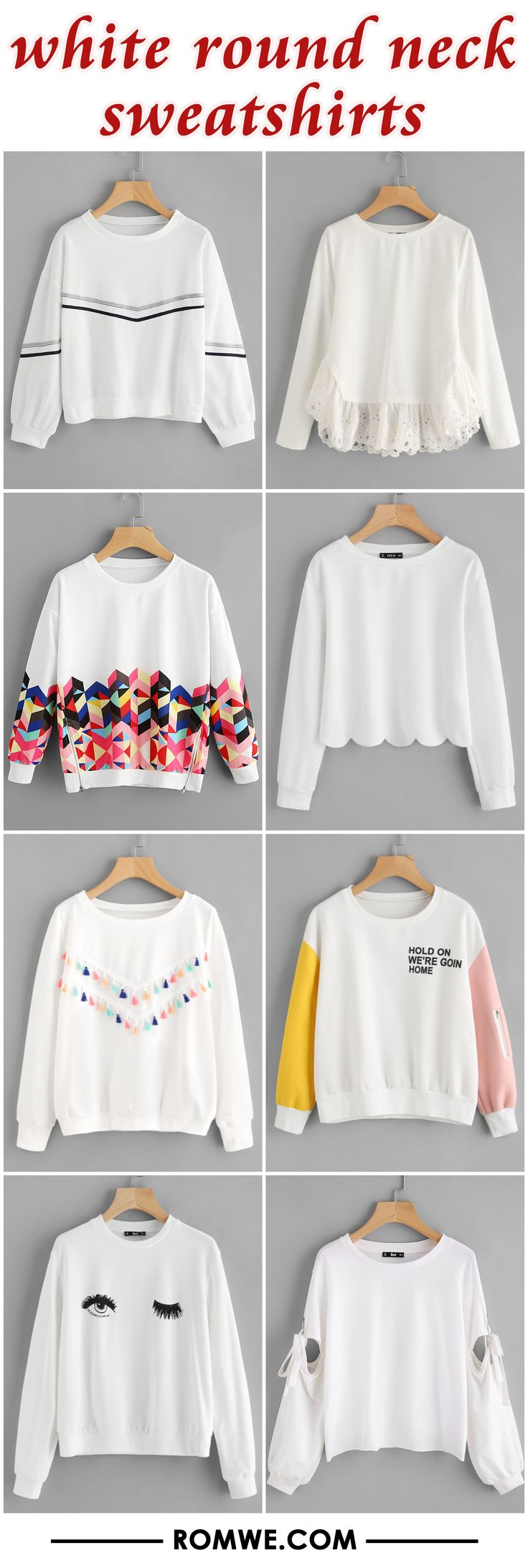 white round neck sweatshirts