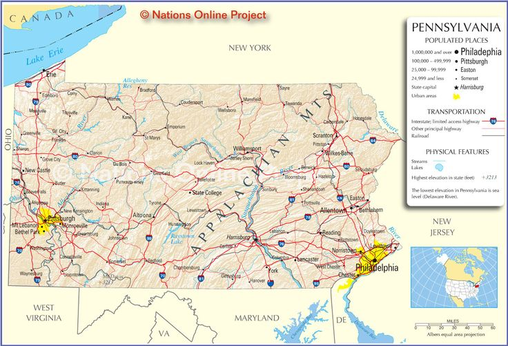 reference map of pennsylvania showing the u state of pennsylvania with the state capital harrisburg major cities populated places highways and more