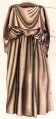 Las mujeres la prenda habitual era el PEPLO DORICO, era un simple rectangulo de tela de lana tejida. Se llevaba drapeado, envolviendo el cuerpo, y se sujetaba en los hombros con alfileres o fibulas, la tela sobrante se doblaba hacia arriba, formando una solapa en la parte de atras que parecia una capa corta.
