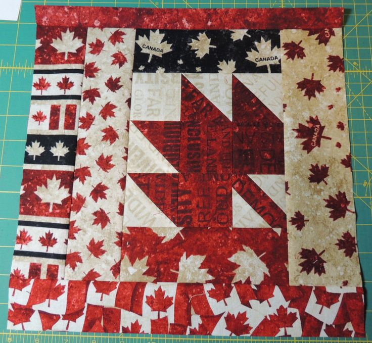 Slab 10 for Canada's Big Quilt Bee with a FPP Maple Leaf in the centre