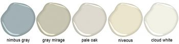 "Candice Olson's Five ""Go To"" Benjamin Moore Paint Colors: nimbus gray 2131-50, gray mirage 2142-50, pale oak OC-20, niveous OC-36, and cloud white OC-130."