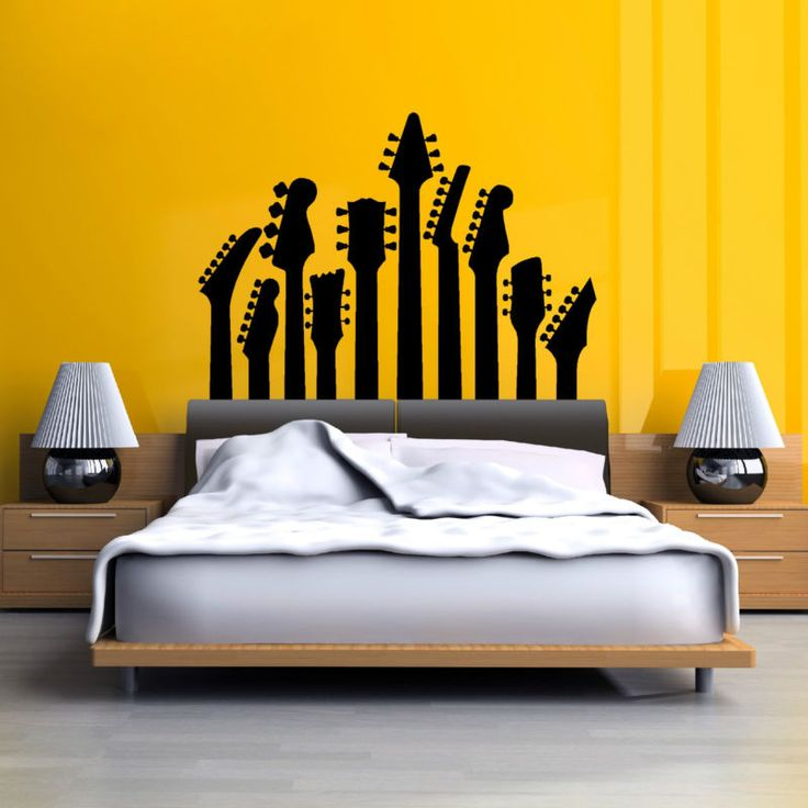 ROW OF GUITAR NECKS WALL ART STICKER MUSIC DECAL ROCK SILHOUETTE GUITAR HEADS
