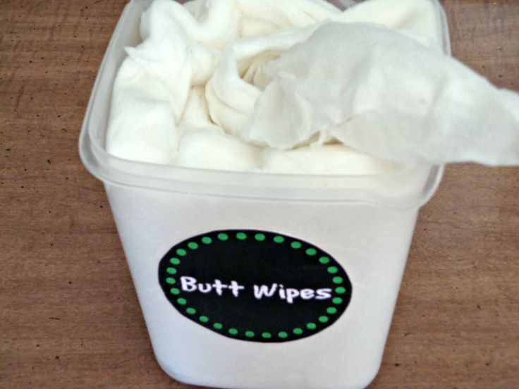 DIY Homemade Flushable Wet Wipes (that don't hurt your tush) Then I mixed 2 Cups hot water  1 Tbs Baby Wash (I don't like it to be too soapy)  1 Tbs Baby Oil  a few drops of Tea Tree Oil (a small bottle lasts forever and it keeps the wipes from mildewing)  Stir the mixture and pour it in the Tupperwar