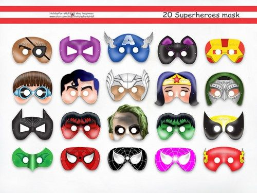 20 superhero printable masks super hero party package for Avengers mask template
