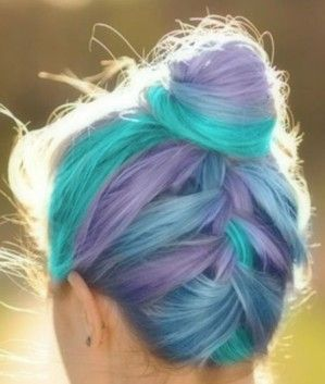 A twist on your average top knot.  Lavender and sea foam hair dye.