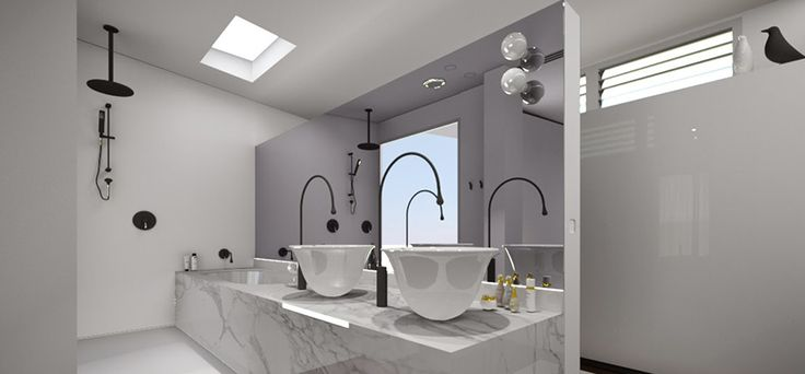 Bathroom Fittings – Aussie Style. Brilliant egg-shaped sinks are elevated off a marble bathroom sink with chic and striking freestanding taps. This look is elegant and contemporary and unusually cool, so why not read more about it with our feature on Aussie bathroom fittings.