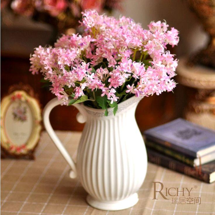 Mediterranean European-style Garden White Ceramic Milk Vase  +3 Bundles Evening Mist Decorative Artificial Flowers Suit 1.8kg