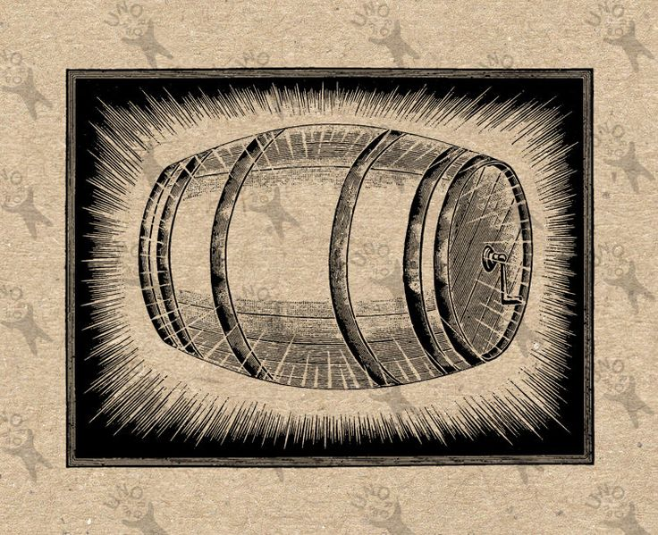 Vintage Old image Cask Oak barrel retro drawing Instant Download Digital printable black and white clipart graphic Burlap Fabric Transfer by UnoPrint on Etsy