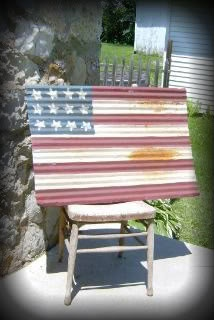 Corrugated Sheet Metal Flag   ♥ The Primitive Pantry ♥