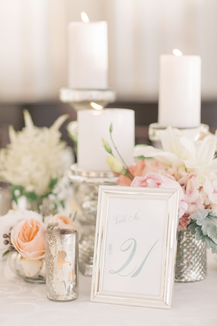 Lovely, romantic tablescape #mercury #glass | Romantic New York Wedding at Waters Edge from Kelly Kollar Photography  Read more - http://www.stylemepretty.com/new-york-weddings/2013/11/04/romantic-new-york-wedding-at-waters-edge-from-kelly-kollar-photography/