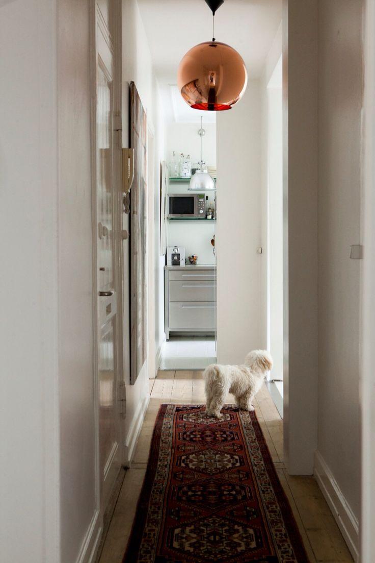 Hallway with Tom Dixon Copper Shade.