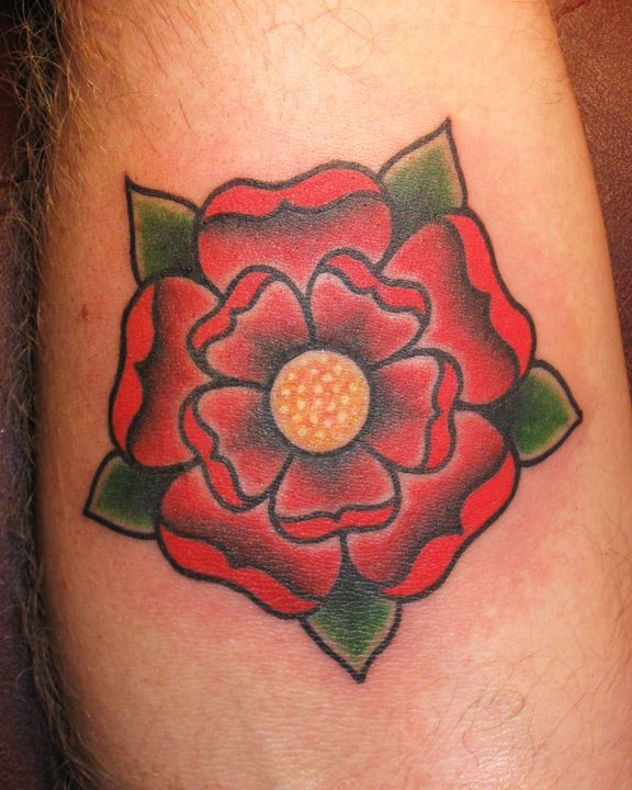 Traditional style Tudor rose tattoo
