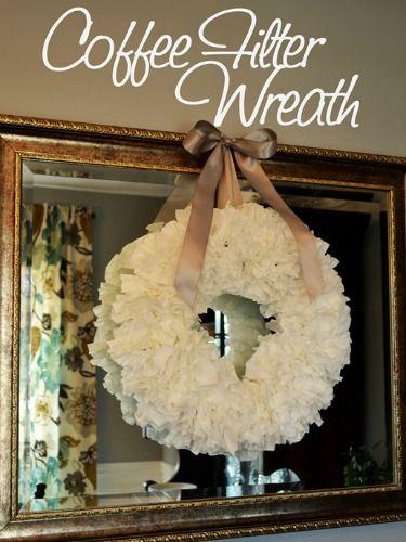 a coffee filter wreath