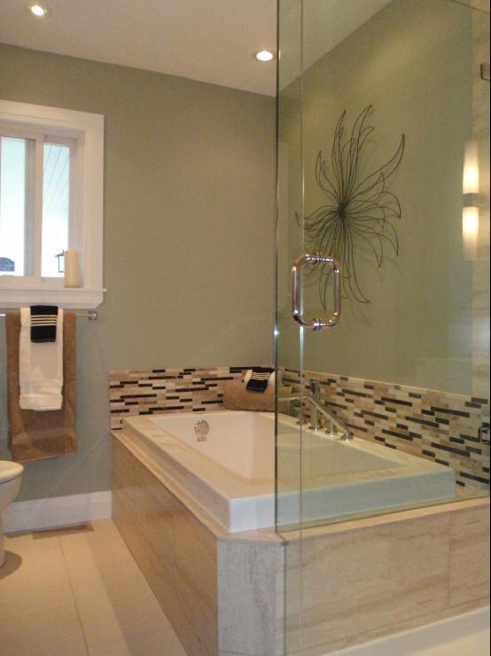 Bathrooms   Benjamin Moore October Mist, Bathroom Renovation, Seamless  Glass Shower, Travertine Mosaic Backsplash, Complete Bathroom Re Des.