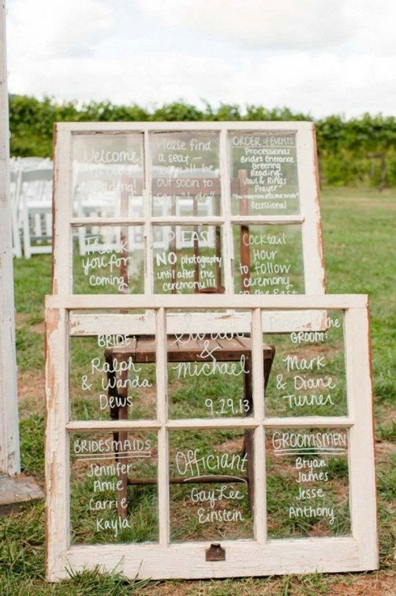Old window pane wedding ceremony signs / http://www.deerpearlflowers.com/diy-window-wedding-ideas/2/