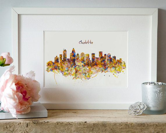 Charlotte Skyline Watercolor painting Wall art by Artsyndrome