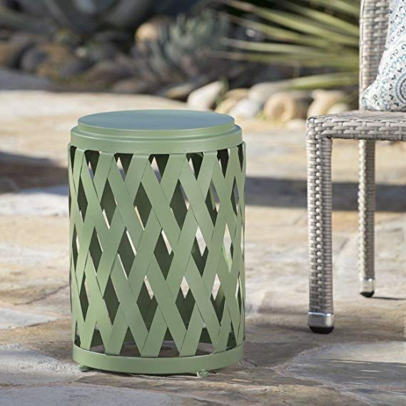 Amazonsmile Ellen Outdoor Iron Side Table 12 Inch Or 14 Inch Diameter 14 Inch Diameter Matte Green Garden Ou Side Table Pool Decor Patio Furnishings