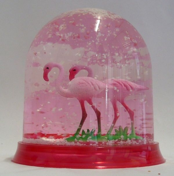"""Flamingo snowglobe.""  Flamingo kitsch is such a huge category, enjoyed by so many people in an ironic way but who don't otherwise even what kitsch is, that it's almost an independent category on its own."