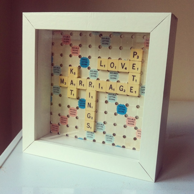 Scrabble wedding present. I'd love this if someone made me this as a gift.