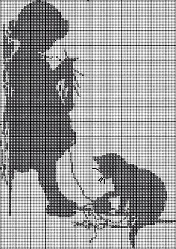 филейное вязание картина девочка кошка