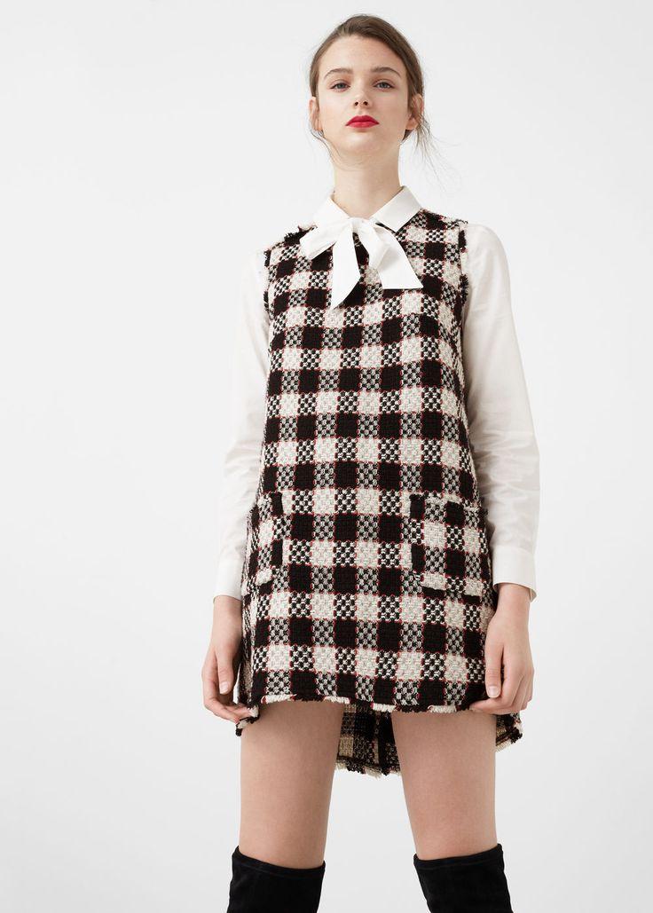 Geruite tweed jurk -  Dames | MANGO Nederland