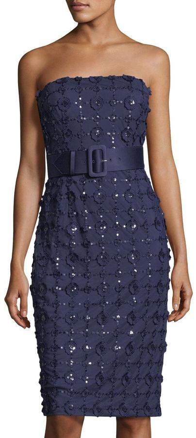 Karl Lagerfeld Paris Strapless Floral-Applique Cocktail Dress