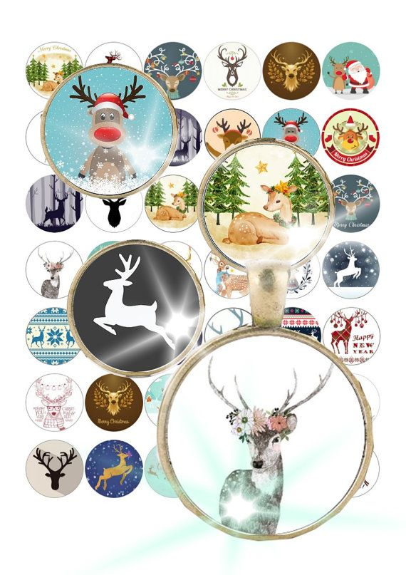 Digital Collage Christmas  Deer Deers 1.2  by ThePrintablesWorld