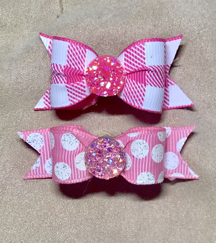 Dog Hair Bows - Hot Pink and White Preppy Plaid Dog Bow and Polka Dots Dog Bow Double Elastic Bands by CreateYourOwnDesign on Etsy https://www.etsy.com/listing/568065961/dog-hair-bows-hot-pink-and-white-preppy