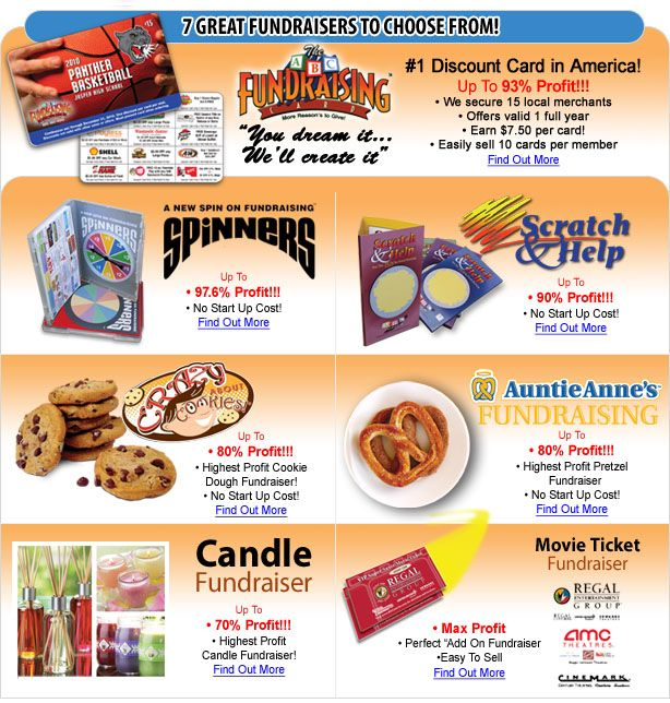 Check Out These Great School Fundraisers From ABC Fundraising® - More Info At http://www.abcfundraising.com/fundraising-ideas
