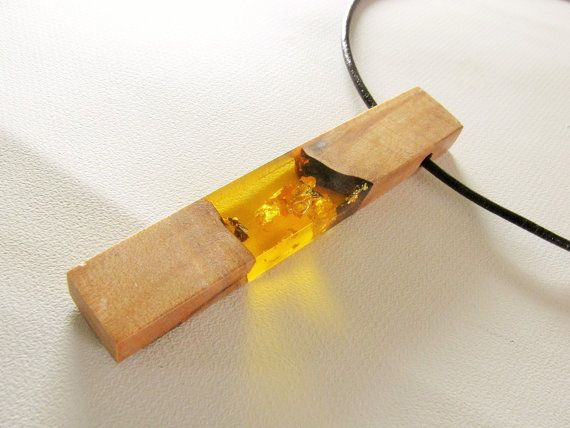 Amber resin pendant maple wood and resin necklace by WoodaCooda