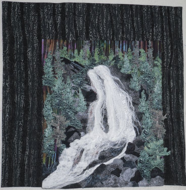 Bridal Veil Falls, Agawa Canyon - Quilted Fiber Art with 3 D Waterfall