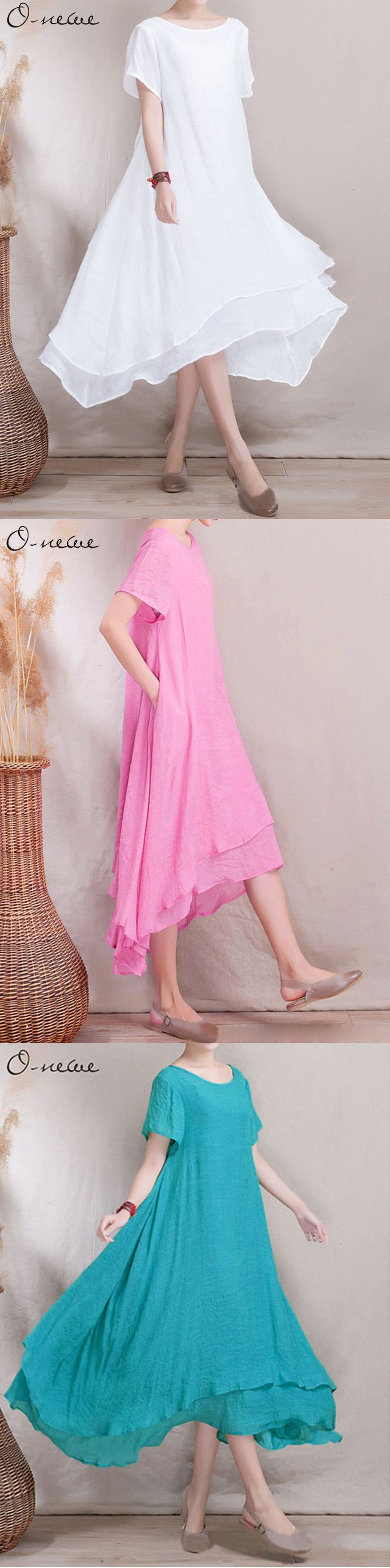 US$22.97 O-Newe Loose Women Ethnic Style Fake Two-piece High Low Maxi Dress