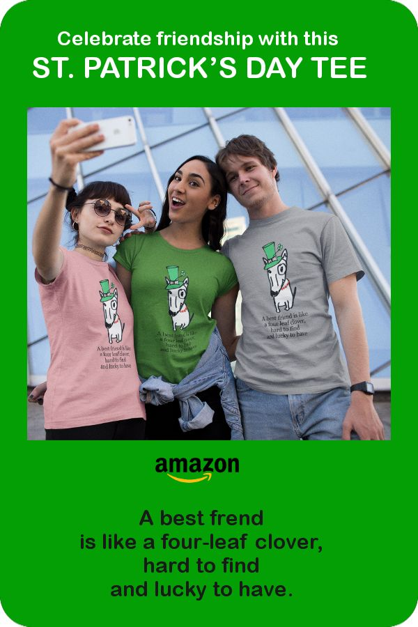 This t-shirt features a comically tough, yet clearly feminine bull terrier wearing a leprechaun hat. An ideal gift this St. Patrick's Day.