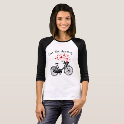 Love the Journey Inspirational Vintage Bike hearts T-Shirt - vintage heart gifts love hearts custom