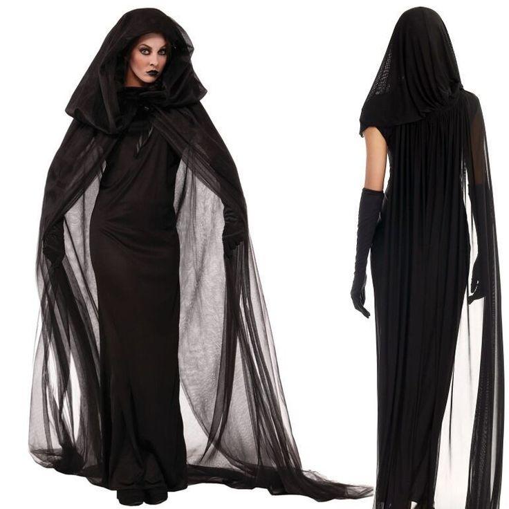 Damen Vintage Vampir Hexe Geist Kostüm Kleid Hoodie Cosplay Karneval Fasching   Kleidung & Accessoires, Kostüme & Verkleidungen, Kostüme   eBay!