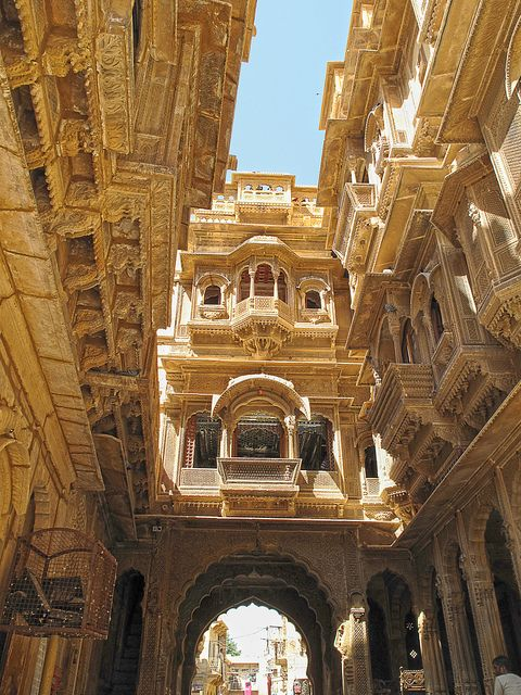 India, le strade della città vecchia di Jaisalmer in Rajasthan