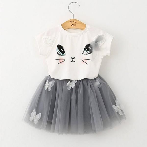 Kids Baby Girls Clothes T-shirt Child Cute Cat Toddler Girl Tops T-shirts Summer