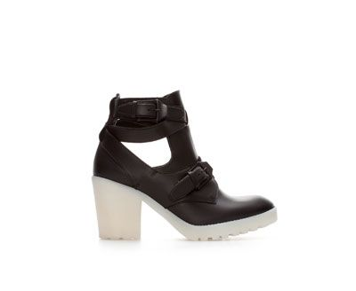 Image 1 of NAPPA LEATHER OPEN ANKLE BOOT WITH TRACK SOLE from Zara